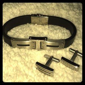 ⛓Unisex stainless steel bracelet & cufflinks set⛓